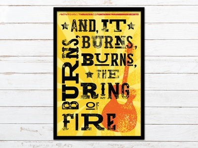 Ring of Fire typographic design print design music song lyrics ring of fire gig poster illustration graphic design wood type letterpress typography poster design poster hatch print johnny cash