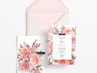 Orange Blossoms Watercolour Wedding Invitation Suite