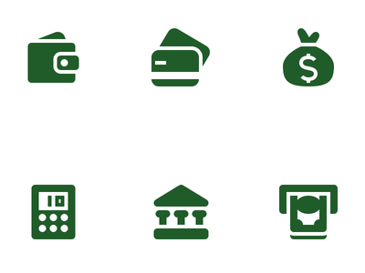Money and Finance Icons icons icon set vector money finance bank atm calculator credit cards wallet