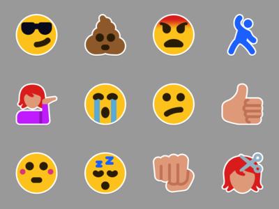 Emoticon Stickers emoticon stickers emotion vector flat emoji