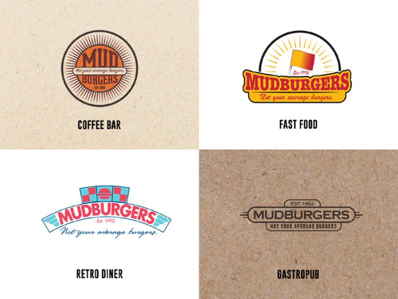 One Logo - Four Styles logo coffee bar burger fast food