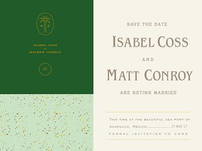 Wedding Invitation I&M gold terrazo marble acapulco invitation wedding tropical tree palm beach