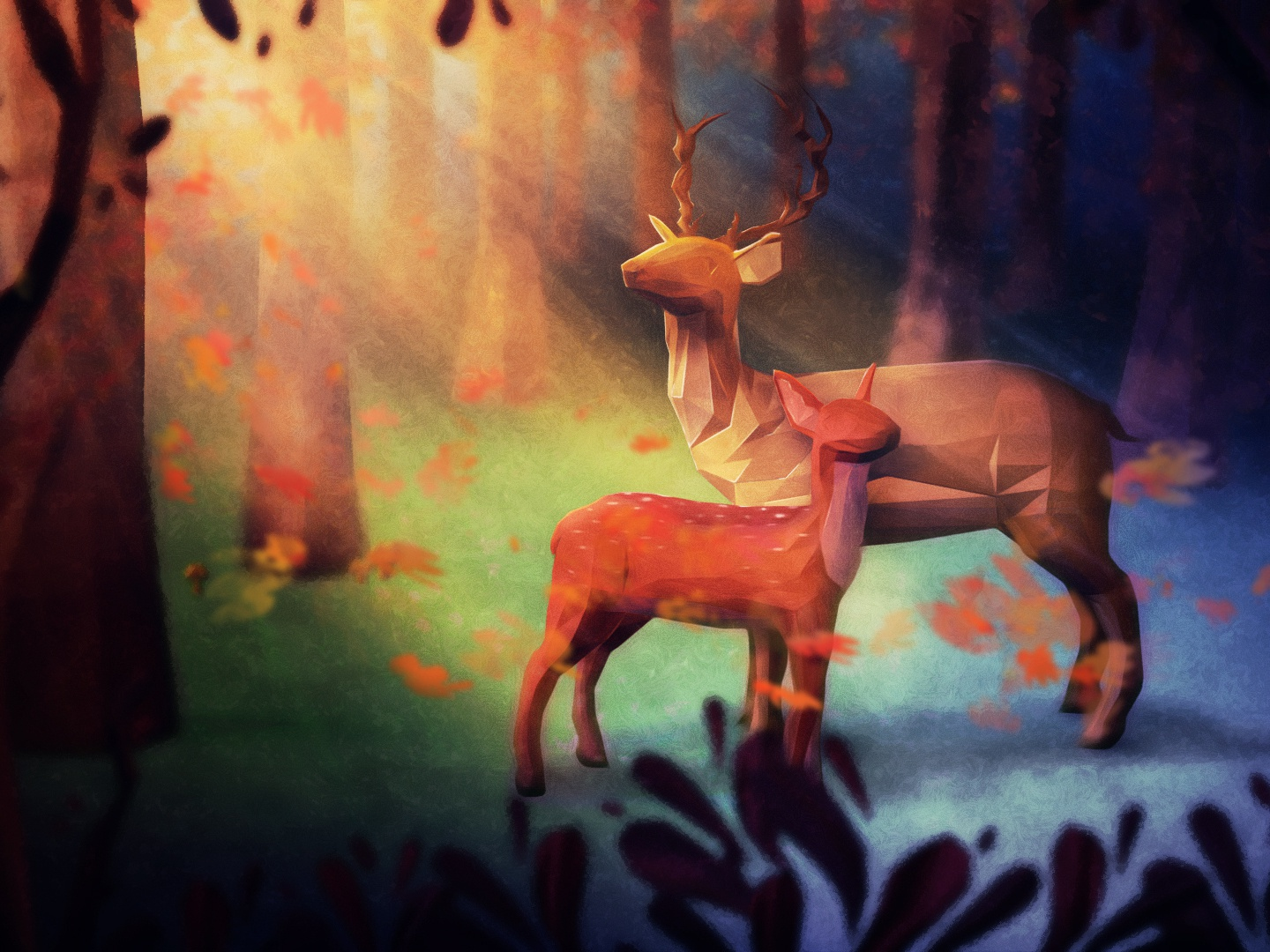 In The Woods fawn deer forest woods art illustration low poly 3d
