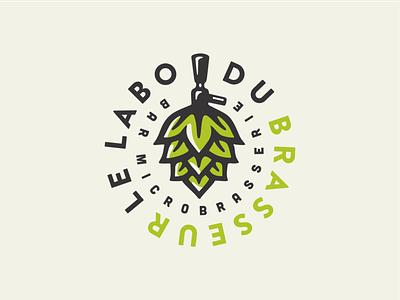 Le Labo du Brasseur retro typography branding vector hops hop brew brewery beer illustration logo