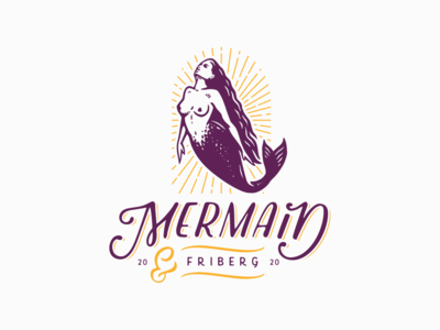 Mermaid vintage retro character lettering vector typography illustration mermaid logo