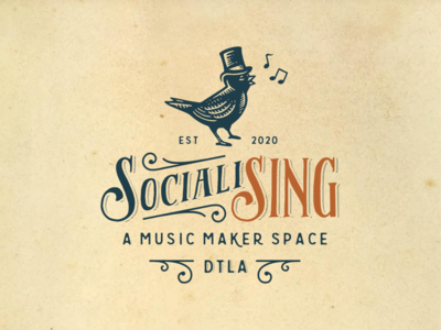 SocialiSing sing music lettering illustration typography vintage retro vector bird logo