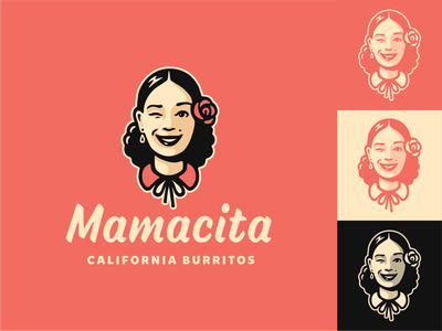 Mamacita burritos mexico woman female character lettering typography illustration vector logo