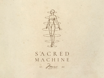 Sacred Machine character human woman female body draw esoteric anatomy illustration vintage logo