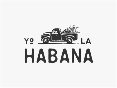 Yo La Habana branding illustration vector retro havana habana sugarcane truck pickup cuban cuba