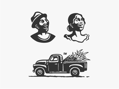 Yo La Habana 2 joy smile rural sugarcane truck retro woman man character girl havana habana cuban cuba illustration vector logo