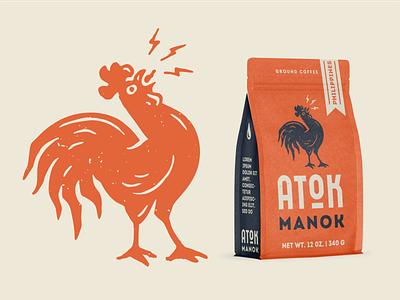 Atok Manok philippines typography branding bag packing illustration vector logo coffee rooster