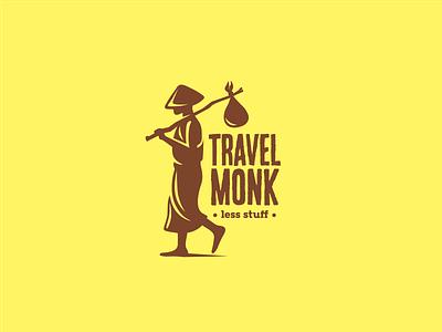 Travel Monk traveler wanderlust minimal monk travel logo