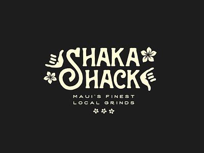 Shaka hand vector lettering typography type maui hawaii shack shaka logo