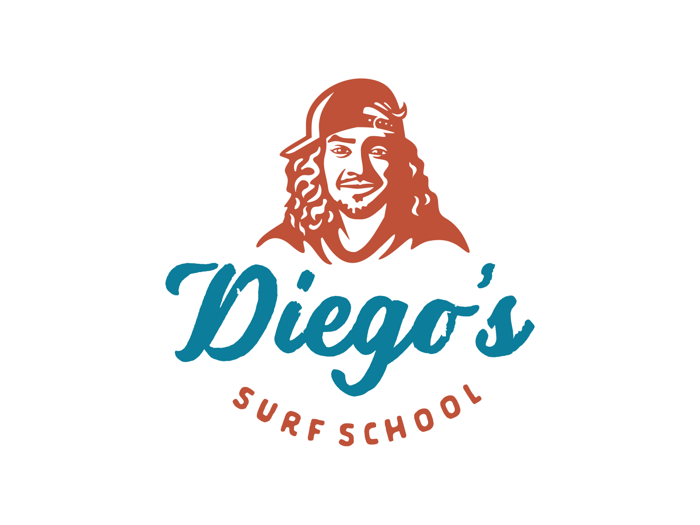 Diego costarica face surf character vector retro logo