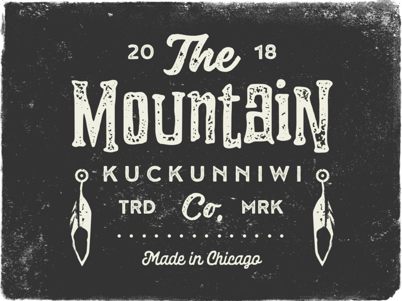 Kuckunniwi vector typography type outdoors grunge grain gritty grit feather vintage retro native native american mountain logo