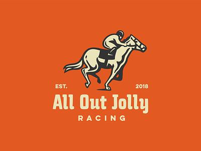 All Out animal racehorse typography retro racing riding jockey vector logo horse racing horse