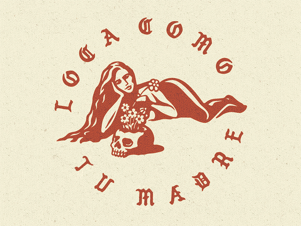 Loca badge logo skull girl vintage illustration retro logo