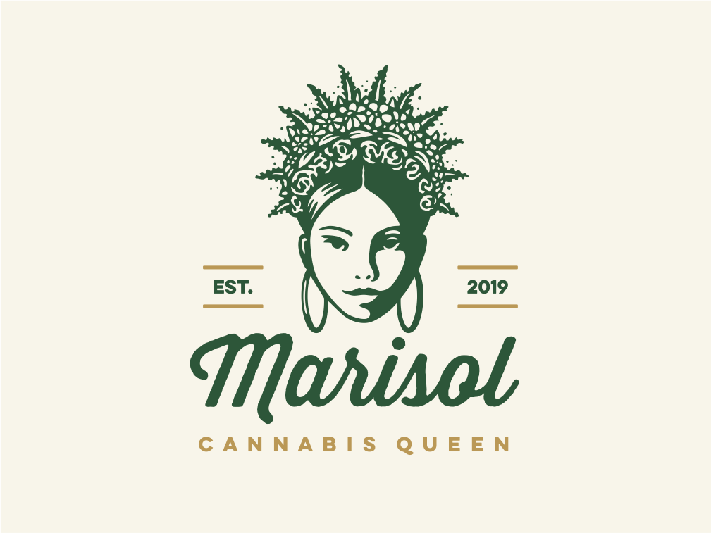 Queen Marisol vector crown queen flowers floral cannabis weed marijuana human character girl illustration logo