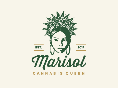 Queen Marisol female hemp vector crown queen flowers floral cannabis weed marijuana human character girl illustration logo