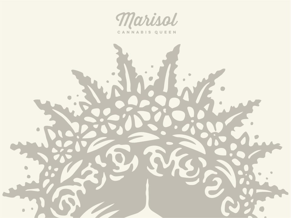Queen Marisol cannabis marijuana queen crown flowers floral illustration vector logo