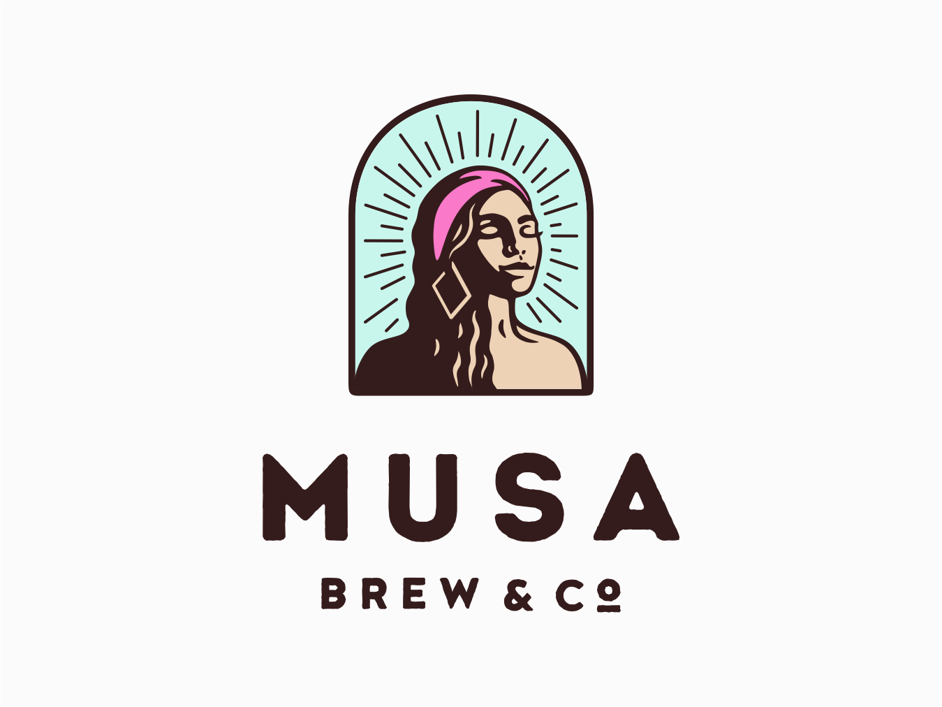 Musa Brew & Co. badge character vector cuba brewing brew coffee girl retro logo