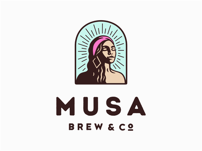 Musa Brew & Co. female badge character vector cuba brewing brew coffee girl retro logo
