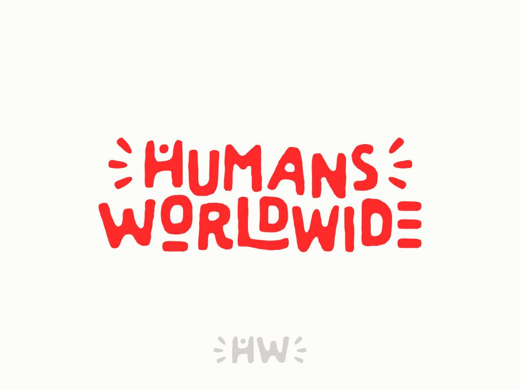 Humans Worldwide typography lettering fun world red joyful joy human logo