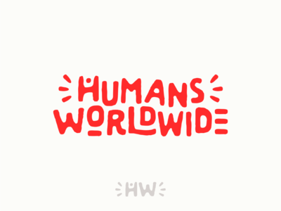 Humans Worldwide typography lettering fun world red joyful joy human logo