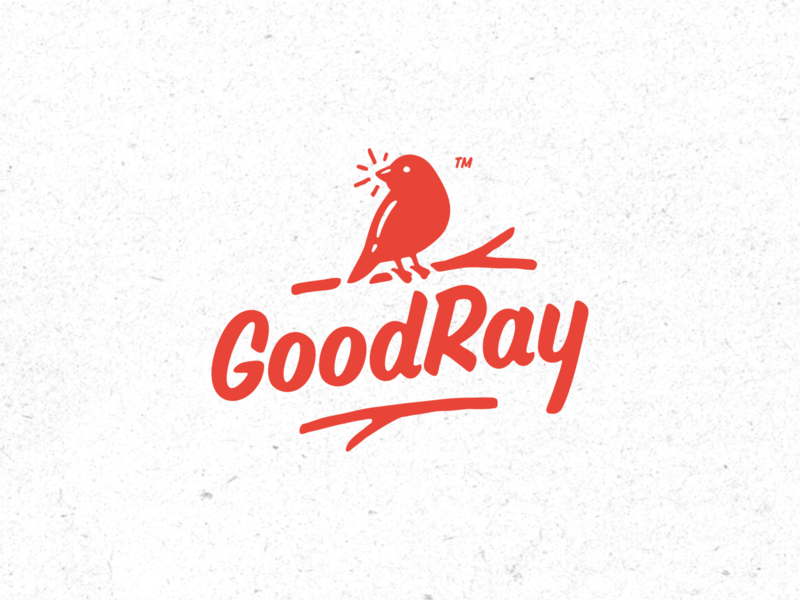 GoodRay lettering red bird animal vintage typography simple retro logo
