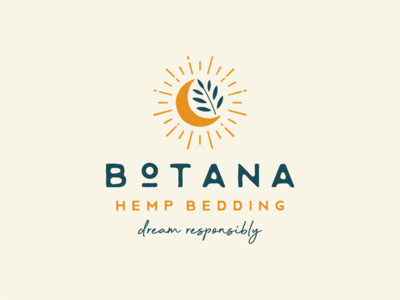 Botana vector design illustration dream plant moon hemp organic retro vintage logo