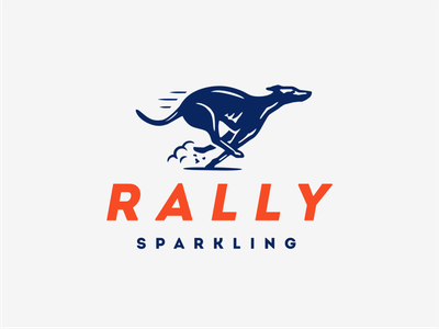 Rally Sparkling seltzer running race greyhound rally dog animal illustration vector logo
