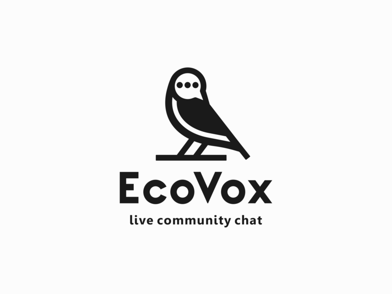 EcoVox chat bird branding animal simple minimal vector logo
