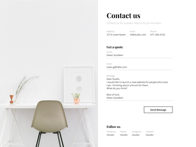 Contact us UI design experience contact interface user webdesign minimal email dailyui form ux design ui