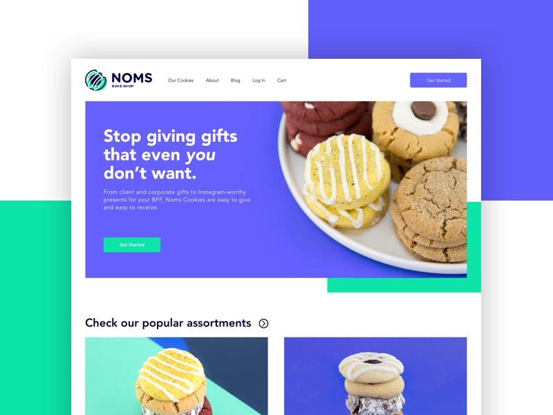 NOMS Bake Shop web app ui cookies photography web design
