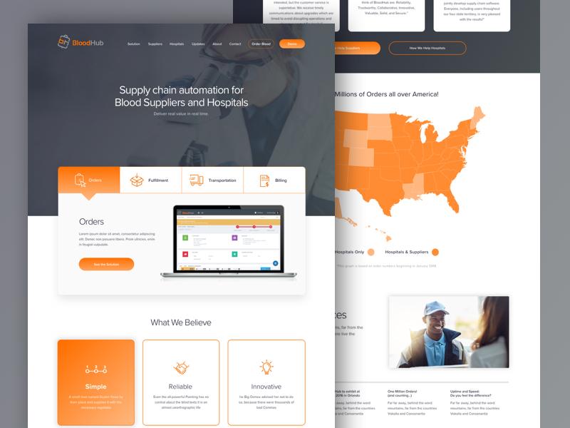 BloodHub Homepage ux design uidesign branding web design