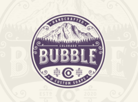 Colorado Bubble Co. mountain colorado handcrafted soap design character illustration vintage retro logo