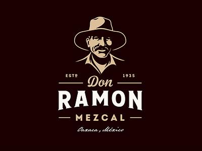 Don Ramon Mezcal traditional qaxaca mexico agave don ramon mezcal tequila portrait character illustration vintage retro logo