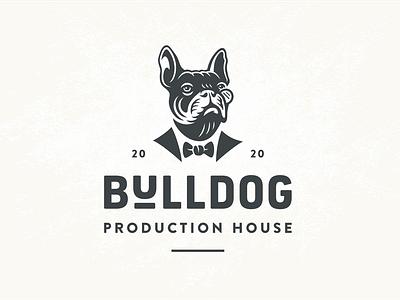 Bulldog baron dog branding productions french bulldog portrait character illustration vintage retro logo