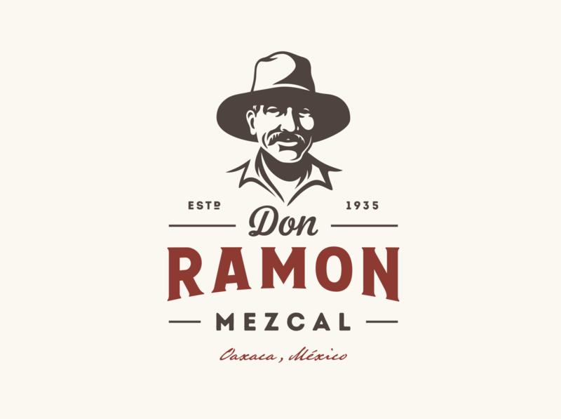 Don Ramon agave oaxaca mexico tequila mezcal portrait character illustration vintage retro logo