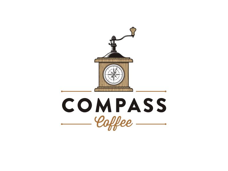 Compass Coffee vintage handmade coffee retro logo
