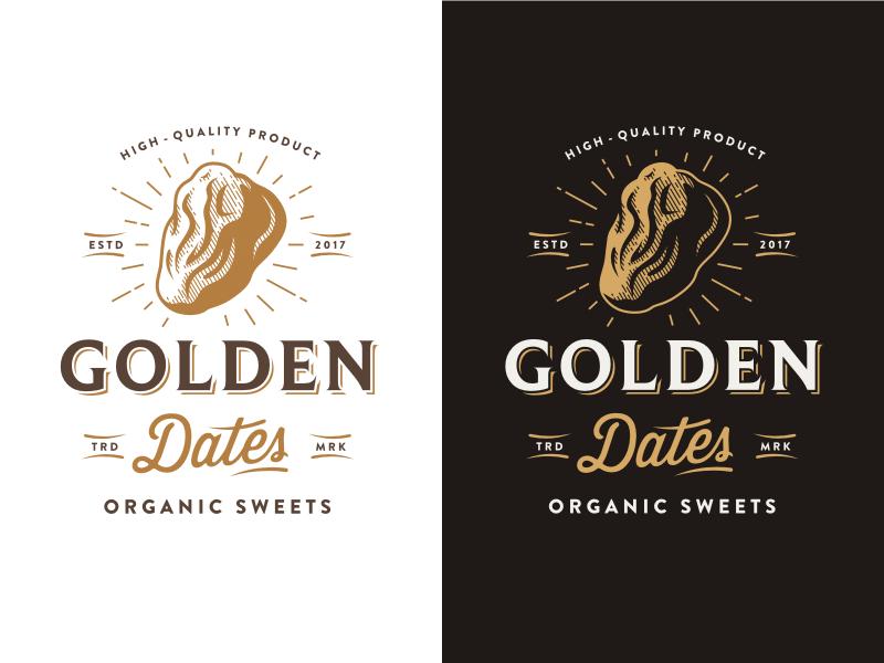 Golden Dates retro vintage dates food organic logo