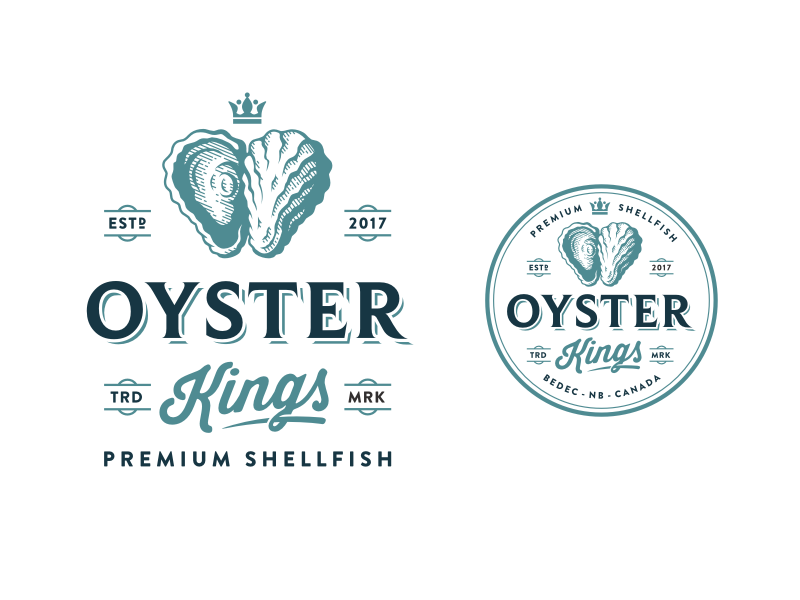 Oyster Kings food shellfish vintage retro restaurant oyster logo