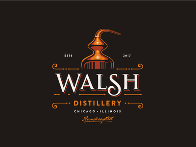 Walsh Distillery chicago vintage retro gangster prohibition alcoholic moonshine vodka bourbon whiskey distillery logo