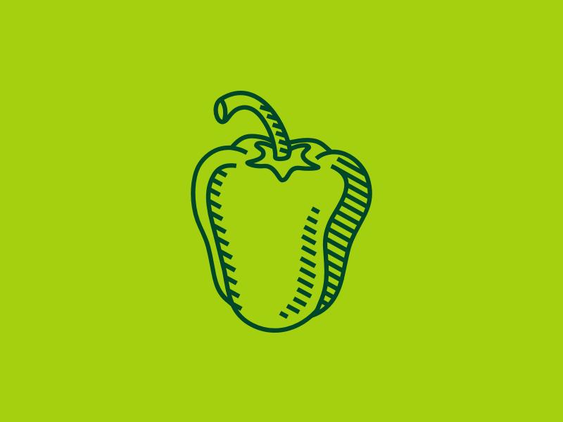 Green Pepper drawing logo farm vegetable pepper