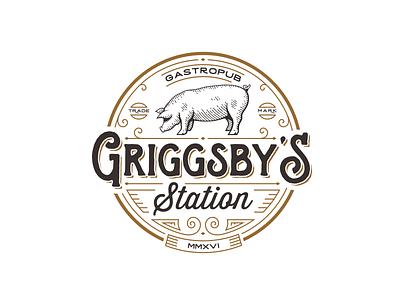Griggsby's  Station poetry vintage retro logo restaurant pub gastropub pig