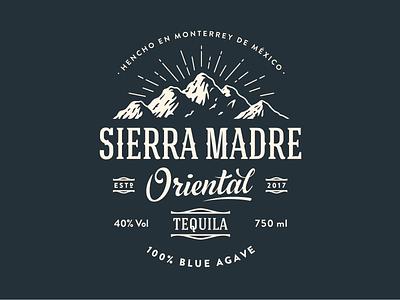 Sierra Madre Oriental mountain logo label retro alcohol agave sierra mexico tequila
