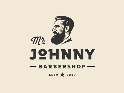 Mr Johnny mister mr johnny barbershop barber illustration vector portrait character retro vintage logo