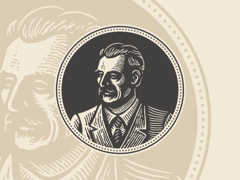 Portrait design woodcut portrait illustration character retro vintage logo