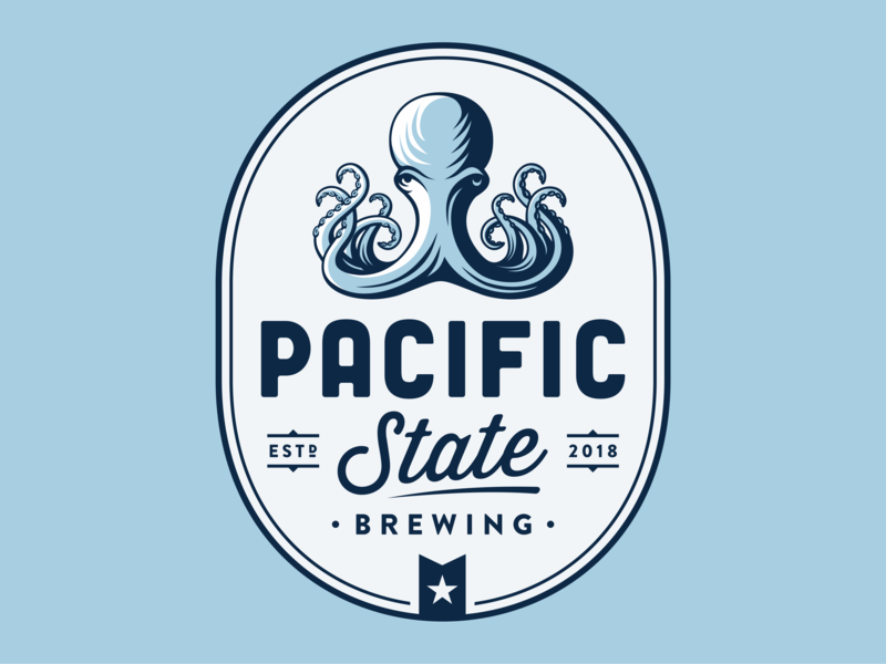 Pacific State vector branding portrait ocean pacific octopus brewery brewing brew beer bar illustration character logo vintage retro