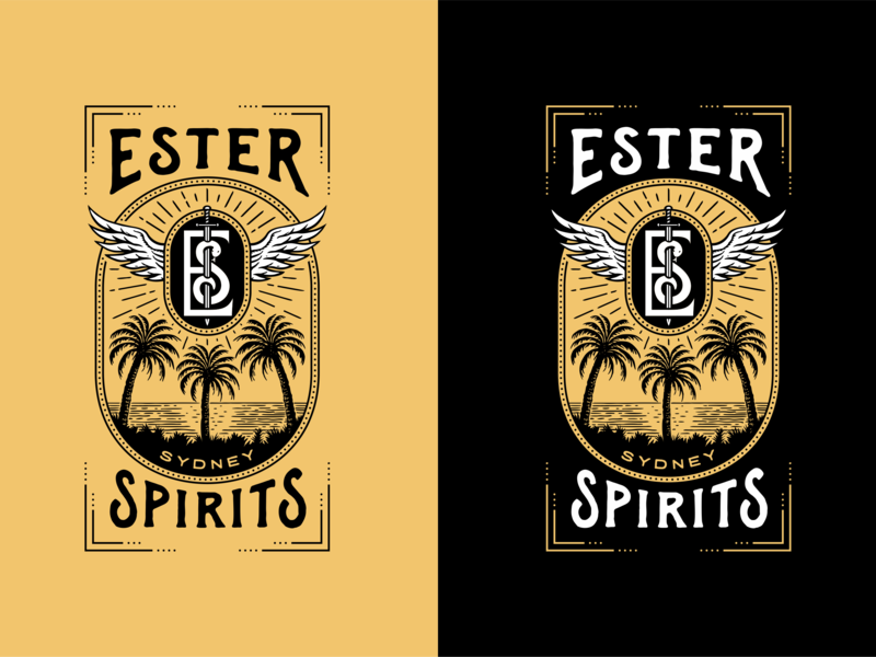 Ester Spirits illustration liquor rum vodka whiskey distilling distillery spirits retro vintage logo